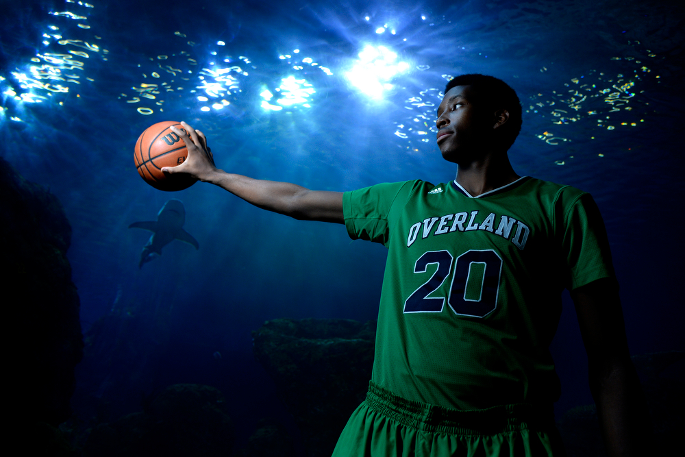. DENVER, CO - APRIL 02: Overland\'s De\'Ron Davis poses for a portrait. All-state boys and girls basketball portraits at the Downtown Aquarium on Wednesday, April 2, 2014. (Photo by AAron Ontiveroz/The Denver Post)