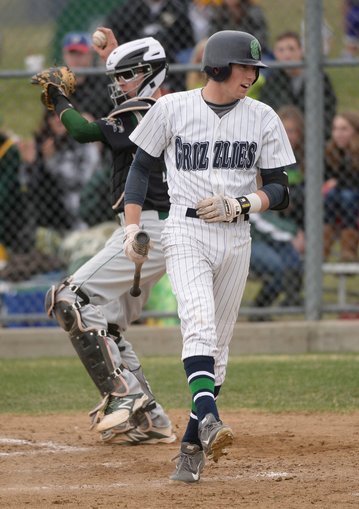 . Brody Westmoreland reacted after he got rung up in the fourth inning. The Mountain Vista High School baseball team blanked ThunderRidge 3-0 Wednesday afternoon, April 16, 2014. (Photo by Karl Gehring/The Denver Post)