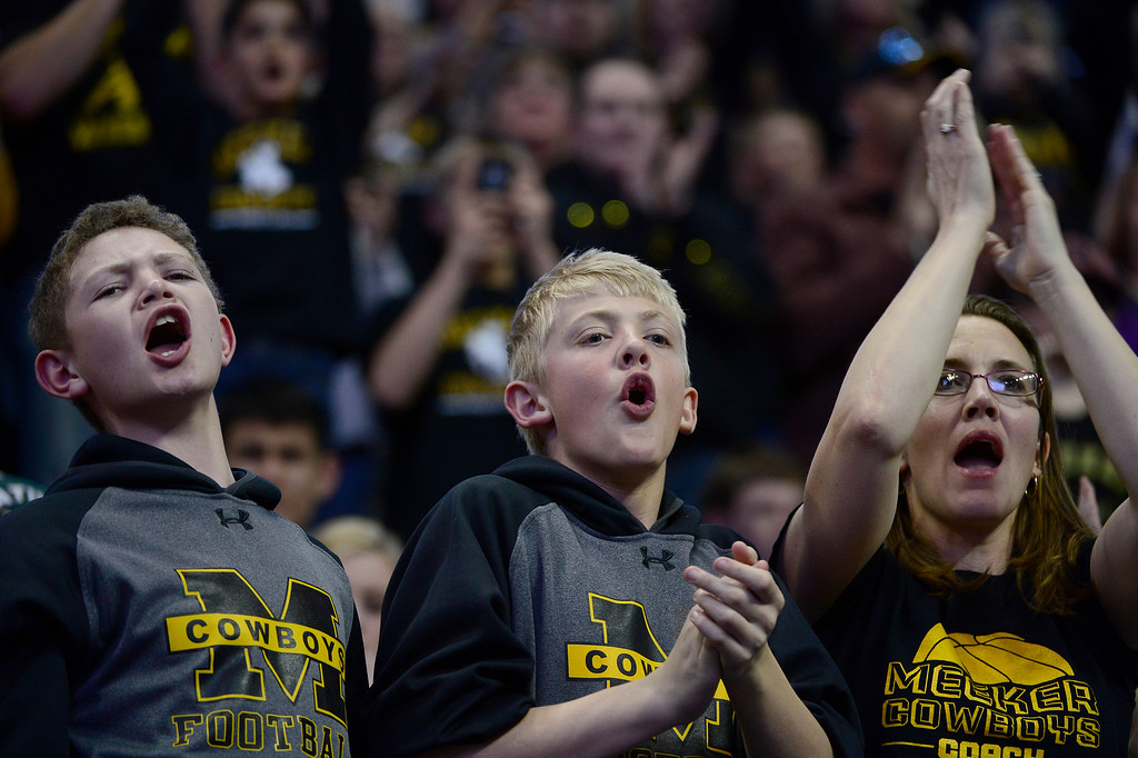 . Meeker High School fans cheer during the finals of the 2016 Colorado Wrestling State Championships at the Pepsi Center on February 20, 2016 in Denver, Colorado. (Photo by Brent Lewis/The Denver Post)
