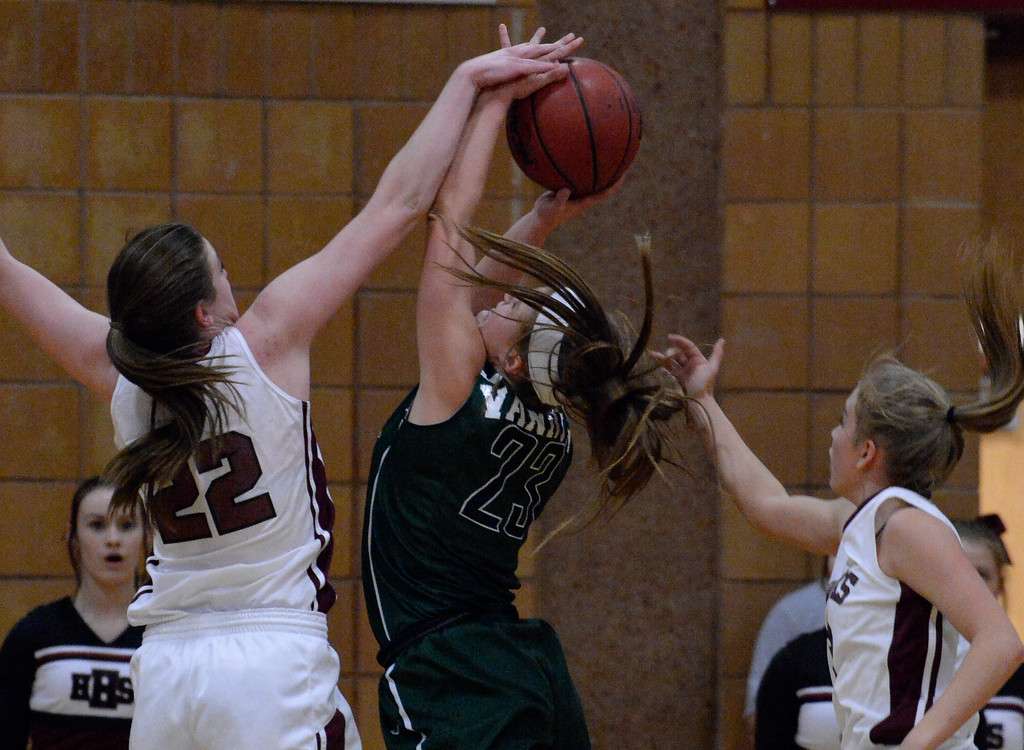 . THORNTON, CO - MARCH 01: Horizon Samantha Deem (22) blocks a shot by Pine Creek Spencer Lindsey (23) during the fourth quarter in the Girls Class 5A Sweet 16 game March 1, 2016 at Horizon HS. (Photo By John Leyba/The Denver Post)