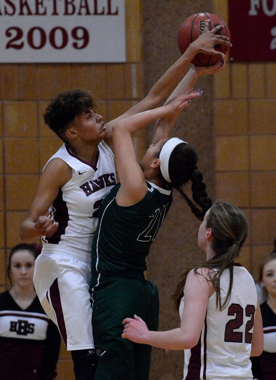 . THORNTON, CO - MARCH 01: Horizon Isabella Allen (23) blocks a shot by Pine Creek Jade Odom (21) during the fourth quarter in the Girls Class 5A Sweet 16 game March 1, 2016 at Horizon HS. (Photo By John Leyba/The Denver Post)