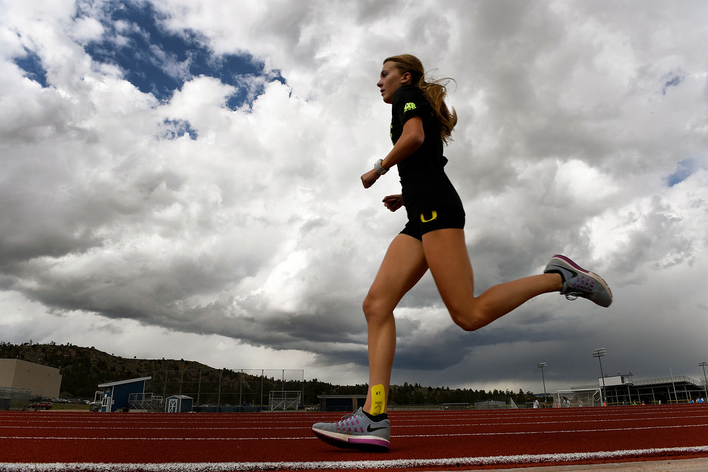 . COLORADO SPRINGS, CO - MAY 10:  Runner Katie Rainsberger does 4x1000 meters on the track during her afternoon work out at Air Academy High School on the Air Force Academy campus at  on May 10, 2016 in Colorado Springs, Colorado. (Photo by Helen H. Richardson/The Denver Post)