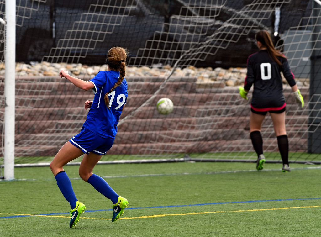 . HIGHLANDS RANCH, CO - MAY 18: Broomfield Hailey Stodden (19) watches her shot hit the back of the net for a score against ThunderRidge during the first half in girls quarterfinals May 18, 2016 at Shea Stadium. (Photo By John Leyba/The Denver Post)