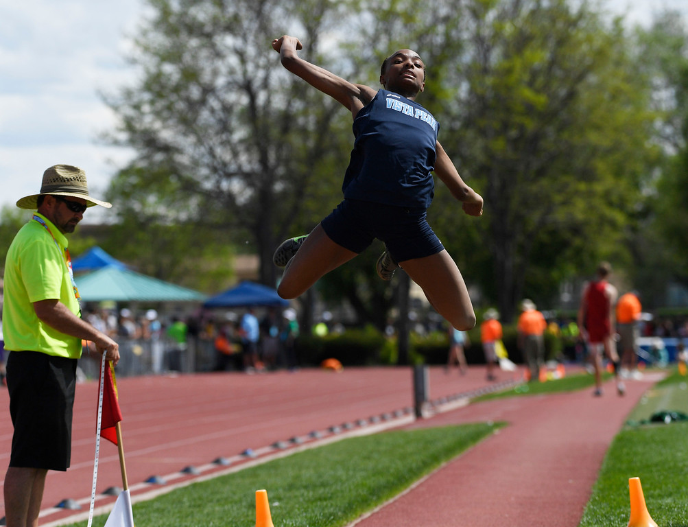 """. LAKEWOOD, CO - May 20: Maya Evans, Vista Peak, makes a 19\' 5.25\"""" jump to take state in the girls 4A long jump completion at the Colorado State High School Track and Field Championships at Jeffco Stadium May 20, 2016. (Photo by Andy Cross/The Denver Post)"""