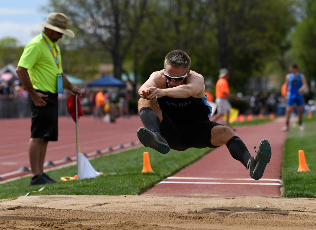 . LAKEWOOD, CO - May 20: Anthony Peters, Vista Ridge High School, lines up his landing in the sand pit during the boys 4A long jump competition at the Colorado State High School Track and Field Championships at Jeffco Stadium May 20, 2016. (Photo by Andy Cross/The Denver Post)