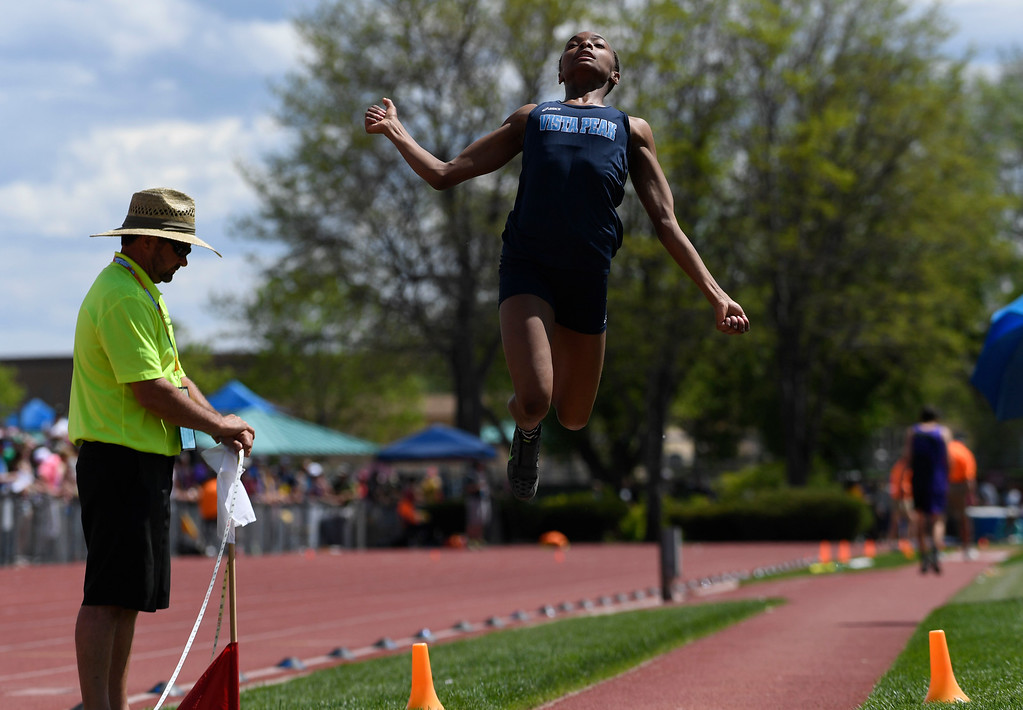 . LAKEWOOD, CO - May 20: Maya Evans, Vista Peak, makes an attempt during thgirls 4A long jump completion at the Colorado State High School Track and Field Championships at Jeffco Stadium May 20, 2016. Evans got a red flag on this attempt, but won the competition with a distance of 19\' 5.25 inches. (Photo by Andy Cross/The Denver Post)