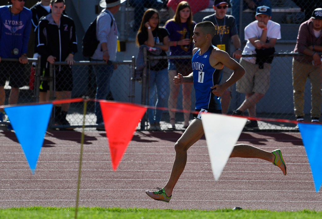 . LAKEWOOD, CO - May 20: Paul Roberts, Lyons High School, makes his way down the back stretch during the boys 2A 3200 meter run at the Colorado State High School Track and Field Championships at Jeffco Stadium May 20, 2016. Roberts won the race with a time of 9:26:17, a new meet record. (Photo by Andy Cross/The Denver Post)