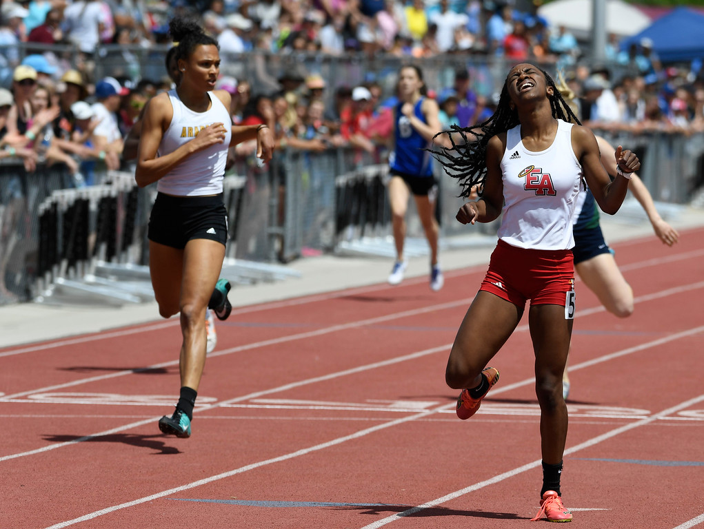 . Arria Minor, Denver East, cruises to victory in the girls 5A 400 meter dash final at the Colorado Track and Field State Championships at Jeffco Stadium May 21, 2016. Minor won the event with a time of 52.50 (Photo by Andy Cross/The Denver Post)