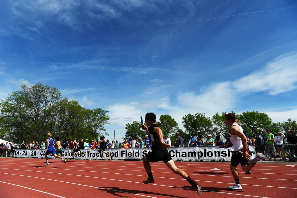 . LAKEWOOD, CO - May 20: The boys 2A 400 meter 4x100 relay preliminary race at the Colorado State High School Track and Field Championships at Jeffco Stadium May 20, 2016. (Photo by Andy Cross/The Denver Post)