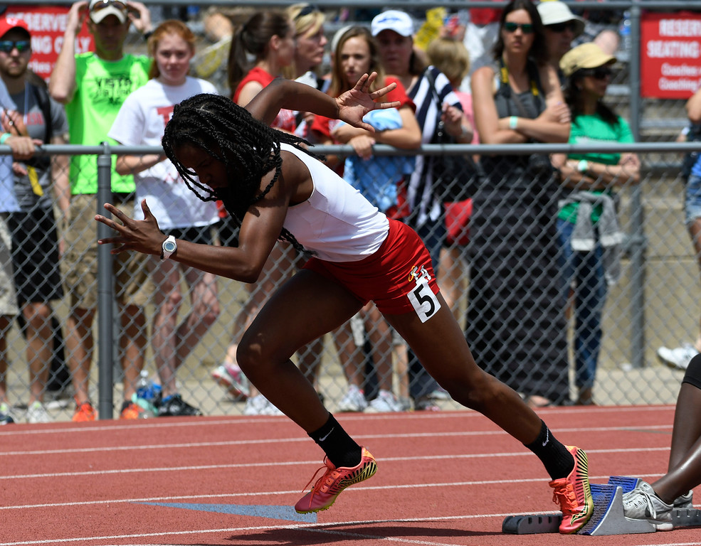 . Arria Minor, Denver East, takes off the blocks for the girls 5A 400 meter dash final at the Colorado Track and Field State Championships at Jeffco Stadium May 21, 2016. Minor won the event with a time of 52.50 (Photo by Andy Cross/The Denver Post)