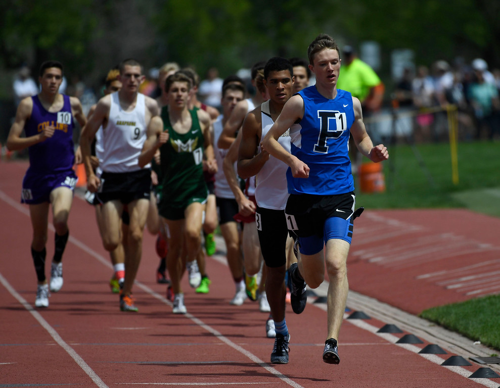 . Henry Raymond, Poudre, right, leads the pack down the track during the boys 5A 1600 meter run final at the Colorado Track and Field State Championships at Jeffco Stadium May 21, 2016. Raymond won the event with a time of 4:18.67 (Photo by Andy Cross/The Denver Post)