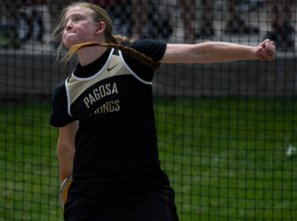 ". LAKEWOOD, CO - May 20: Kenna Murphy, Pagosa Springs, throws during the girls 3A discus throw at the Colorado State High School Track and Field Championships at Jeffco Stadium May 20, 2016. Murphy took second with a throw of 120\' 11"" (Photo by Andy Cross/The Denver Post)"