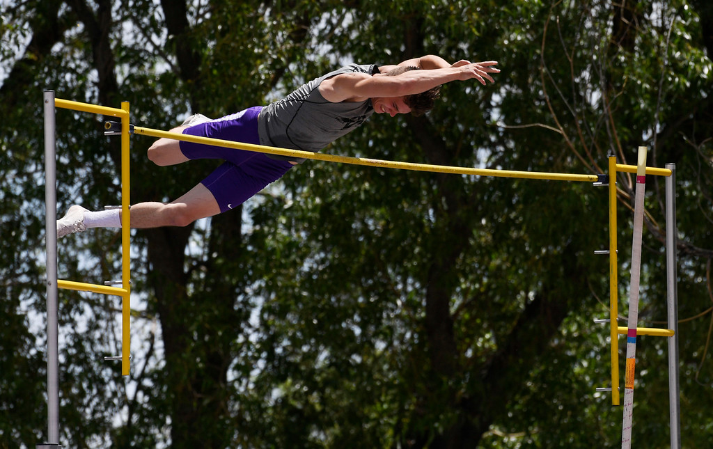 . Ramon Salgado, Mountain View, clears the bar during the boys 4A pole vault completion at the Colorado Track and Field State Championships at Jeffco Stadium May 21, 2016. Despite a groin injury, Salgado won the event by clearing 14\' 8 inches. (Photo by Andy Cross/The Denver Post)