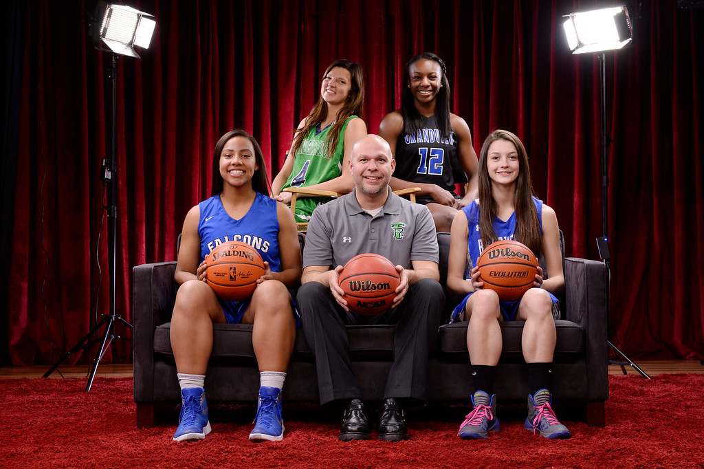 . The Colorado All-State girls basketball team at The Denver Post on Wednesday, March 30, 2016.  Top row left to right: Taylor Rusk, ThunderRidge, Michaela Onyenwere, of Grandview. Bottom row left to right: Leilah Vigil, Highlands Ranch, Coach of the Year Matthew Asik of ThunderRidge and Brenna Chase of Broomfield.  (Photo by Cyrus McCrimmon/ The Denver Post)