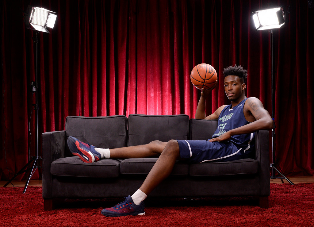 . Mr. Basketball De\'Ron Davis of Overland High School for the  Colorado All-State basketball teams for boys  at The Denver Post on Wednesday, March 30, 2016.  (Photo by Cyrus McCrimmon/ The Denver Post)
