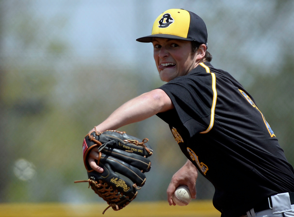 . Caliche pitcher Mitch Davison (2) delivers a itch int he 7th inning to shut down Dove Creek in the Championship game May 15, 2014 at All-Star Park. Caliche defeated Dove Creek 17-1 for the title.  (Photo by John Leyba/The Denver Post)