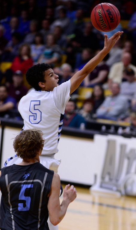 . Jeremy Randle (5) of Valor Christian Eagles goes for a lay up during the fourth quarter at the Coors Events Center on March 12, 2016 in Boulder, Colorado. Pueblo West Cyclones defeated Valor Christian Eagles 70-51 to win the Colorado State 4A Boys Championship. (Photo by Brent Lewis/The Denver Post)