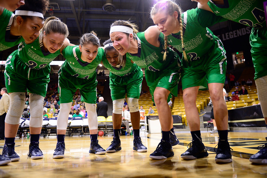 . ThunderRidge hurdles before the start of their game against Highlands Ranch at the Coors Events Center on March 12, 2016 in Boulder, Colorado. (Photo by Brent Lewis/The Denver Post)