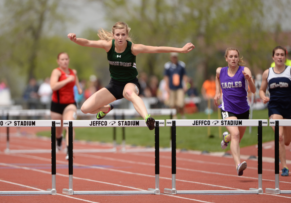 . Kacey Buttrick of South High School won 1A Girls 300m hurdle during Colorado high school state track and field meet at Jeffco Stadium. Lakewood, Colorado. May 17. 2014. (Photo by Hyoung Chang/The Denver Post)