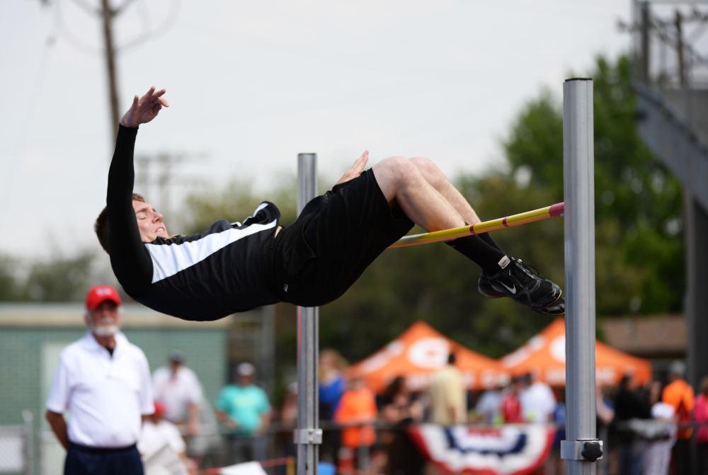 . Michael Kaiser of Prairie High School clears 6 ft of class 1A High Jump during Colorado high school state track and field meet at Jeffco Stadium. Lakewood, Colorado. May 17. 2014. (Photo by Hyoung Chang/The Denver Post)