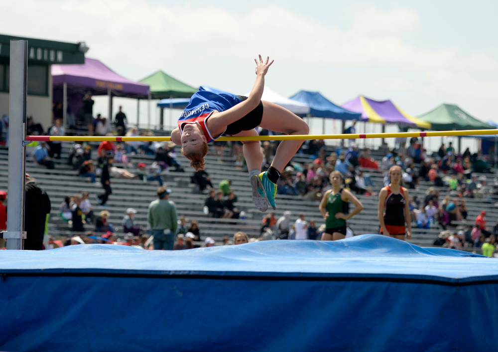 . Madison Miller, Centaurus High School competes in the 4A high jump  during the Colorado High School State Track and Field Championships, May 15, 2014. Action will continue through Saturday at Jeffco Stadium in Lakewood. (Photo by RJ Sangosti/The Denver Post)