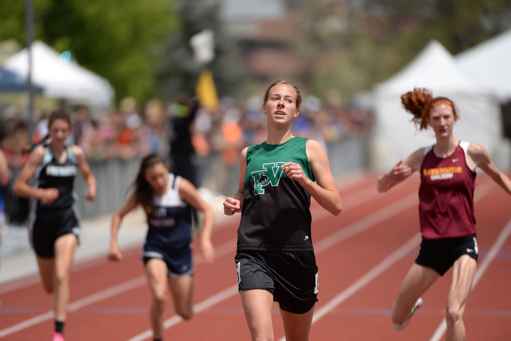 . Audrey Rose of Plateau Valley High School won 1A girls 400m dash during colorado high school state track and field meet at Jeffco Stadium. Lakewood, Colorado. May 17. 2014. (Photo by Hyoung Chang/The Denver Post)