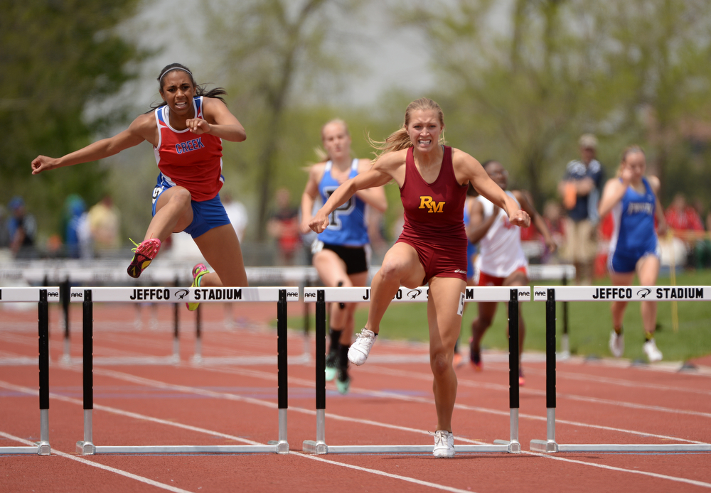 . Rocky Mountain High\'s Carly Lester won 5A Girls 300m hurdle and set the state record during Colorado high school state track and field meet at Jeffco Stadium. Lakewood, Colorado. May 17. 2014. (Photo by Hyoung Chang/The Denver Post)