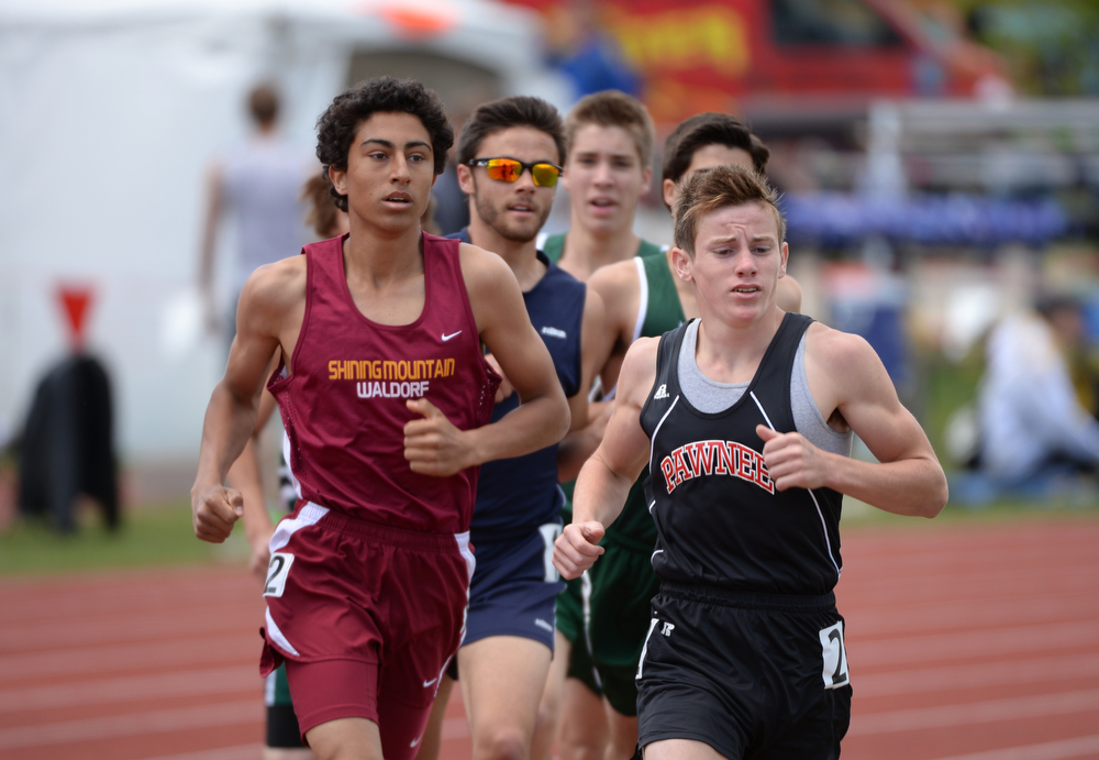 . Runners are in 1A boys 1600m run during Colorado high school state track and field meet at Jeffco Stadium. Lakewood, Colorado. May 17. 2014. (Photo by Hyoung Chang/The Denver Post)
