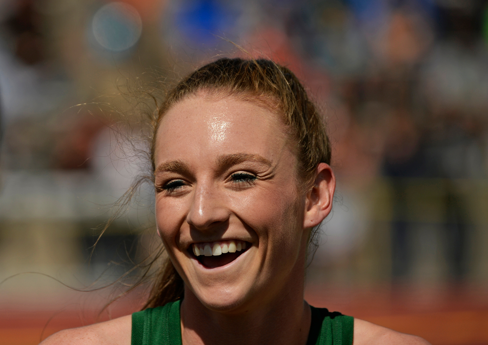 . Niwot\'s Elise Cranny wins a class 4A state championship in girls 3,200 meter during the Colorado High School State Track and Field Championships, May 16, 2014. Cranny also broke a state record with her time. (Photo by RJ Sangosti/The Denver Post)