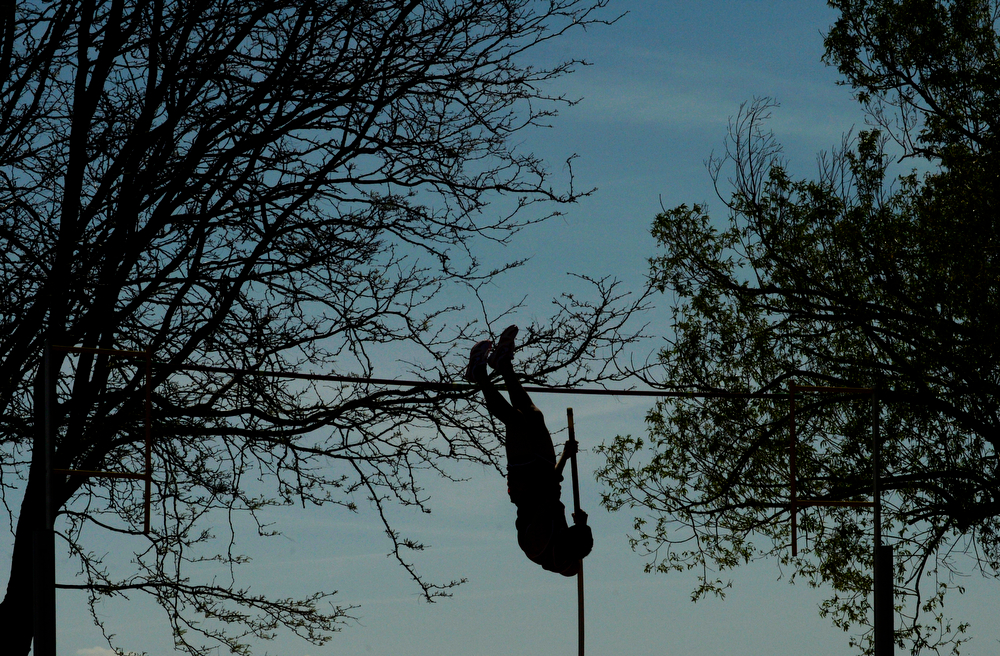 . Brandon Hinkle, of Yuma High School, competes in the pole vault during the Colorado High School State Track and Field Championships, May 16, 2014. Action will continue through Saturday at Jeffco Stadium in Lakewood. (Photo by RJ Sangosti/The Denver Post)