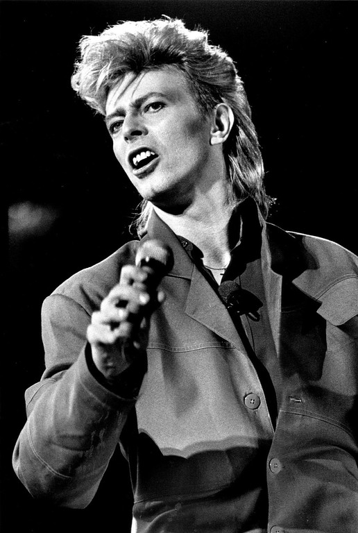 . AUG 12 1987 - David Bowie brought his Glass spider tour to Mile High stadium Wednesday night. (Denver Post file photo by Karl Gehring)