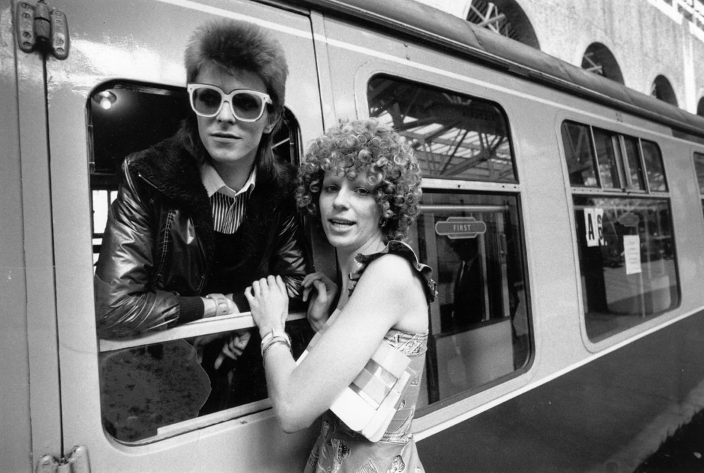 . FILE - JANUARY 11; 2016:  David Bowie Dies At Age 69 9th July 1973:  Pop singer David Bowie is seen off at the station by his wife Angie.  (Photo by Smith/Express/Getty Images)