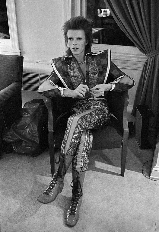 . This is a  Dec. 1, 1972 file photo of  David Bowie in his Ziggy Stardust period  pictured in Philadelphia. Bowie, the other-worldly musician who broke pop and rock boundaries with his creative musicianship, nonconformity, striking visuals and a genre-bending persona he christened Ziggy Stardust, died of cancer Sunday Jan. 10, 2016. He was 69 and had just released a new album. (AP Photo, Brian Horton, File)