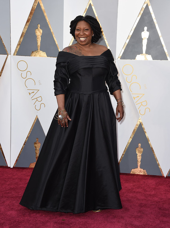 . Whoopi Goldberg arrives at the Oscars on Sunday, Feb. 28, 2016, at the Dolby Theatre in Los Angeles. (Photo by Jordan Strauss/Invision/AP)