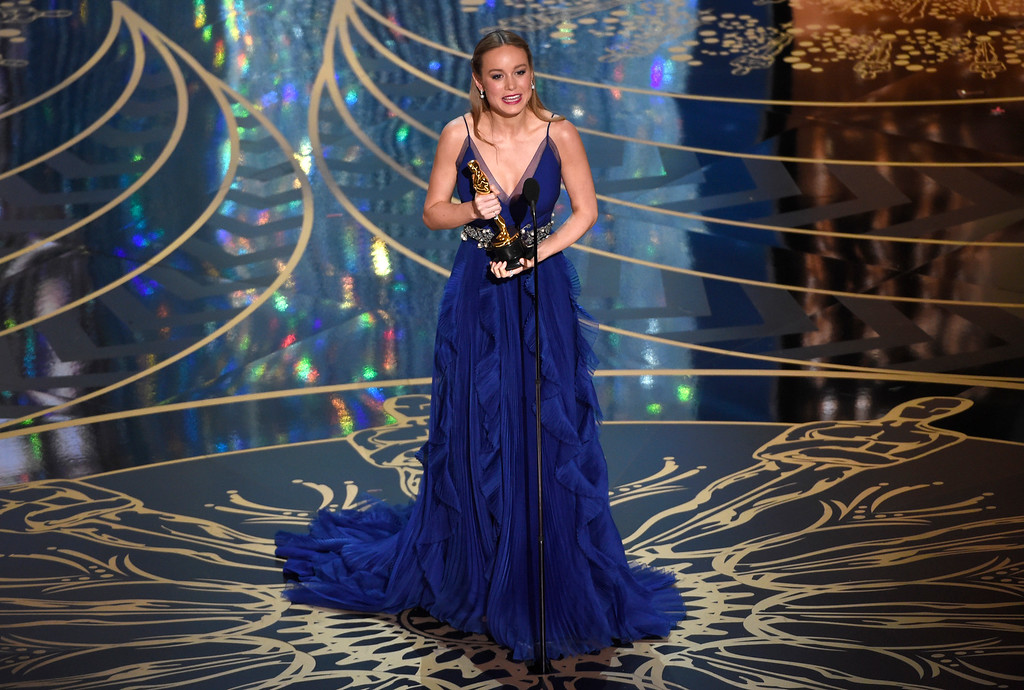 . Brie Larson accepts the award for best actress in a leading role for �Room� at the Oscars on Sunday, Feb. 28, 2016, at the Dolby Theatre in Los Angeles. (Photo by Chris Pizzello/Invision/AP)