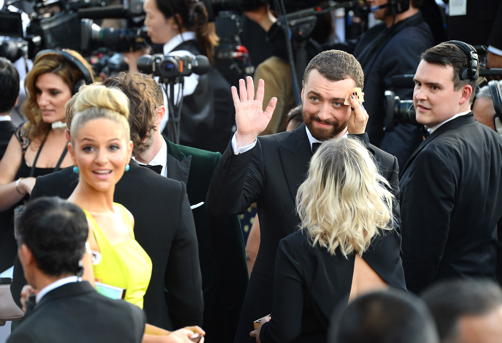 . Sam Smith arrives at the Oscars on Sunday, Feb. 28, 2016, at the Dolby Theatre in Los Angeles. (Photo by Al Powers/Invision/AP)
