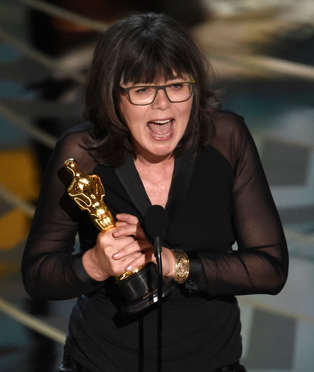 . Margaret Sixel accepts the award for best film editing for �Mad Max: Fury Road� at the Oscars on Sunday, Feb. 28, 2016, at the Dolby Theatre in Los Angeles. (Photo by Chris Pizzello/Invision/AP)