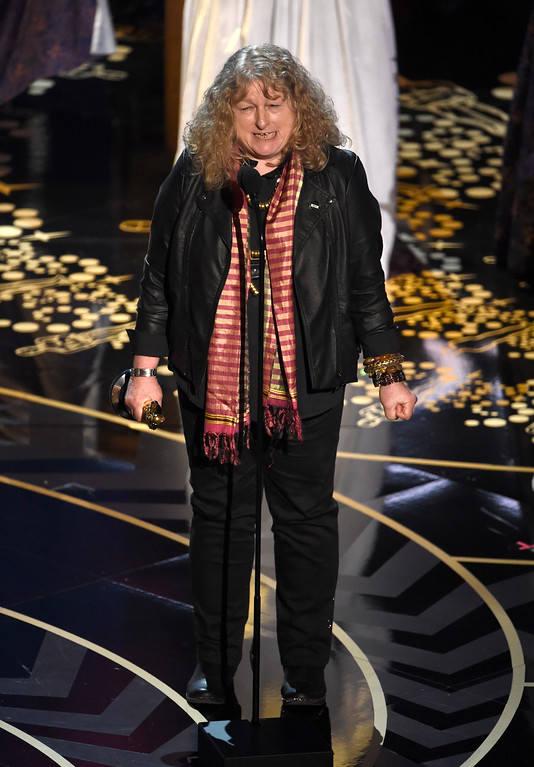 . Jenny Beavan accepts the award for best costume design for �Mad Max: Fury Road� at the Oscars on Sunday, Feb. 28, 2016, at the Dolby Theatre in Los Angeles. (Photo by Chris Pizzello/Invision/AP)