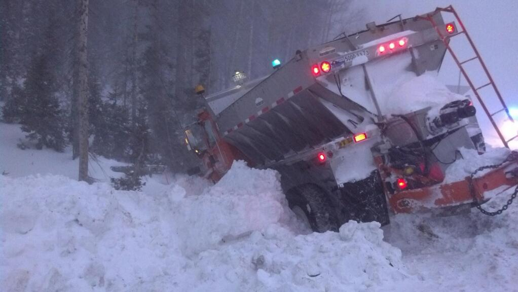 . A snow plow got stuck on U.S. 160 on Wolf Creek Pass on Dec. 4, 2013. Provided by Colorado State Patrol