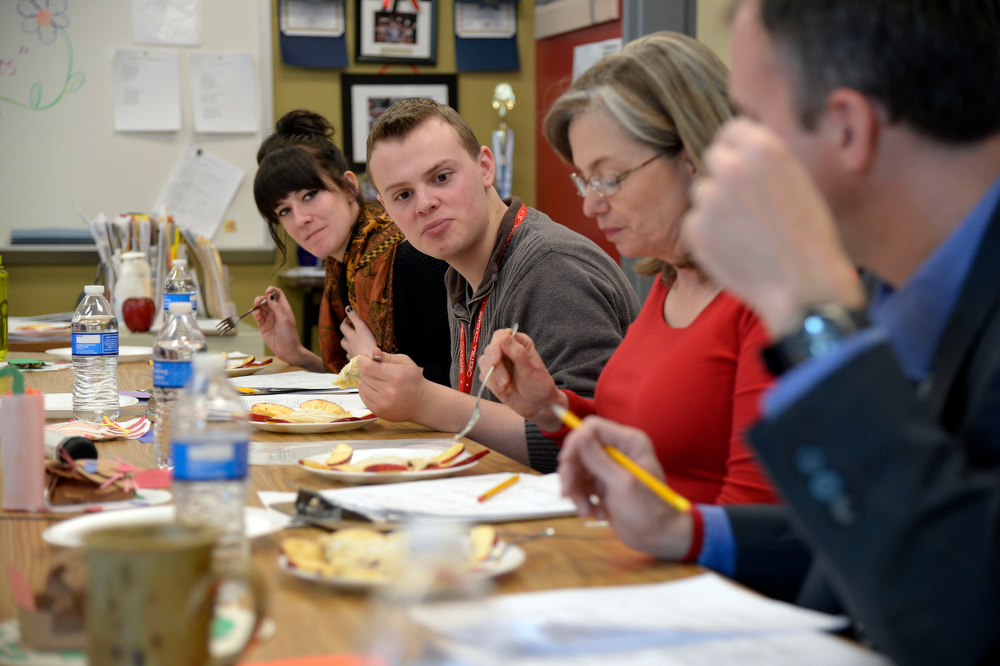 . Judges prepare to sample the student food during the Culinary Arts for Kidz cook off April 2, 2014 at Cresthill Middle School. (Photo by John Leyba/The Denver Post)