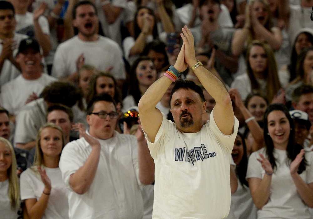 . Columbine High School Principal Frank DeAngelis plans to retire at the end of the school year, April 25, 2014. DeAngelis was honored during the last prep rally of the year. (Photo by RJ Sangosti/The Denver Post)