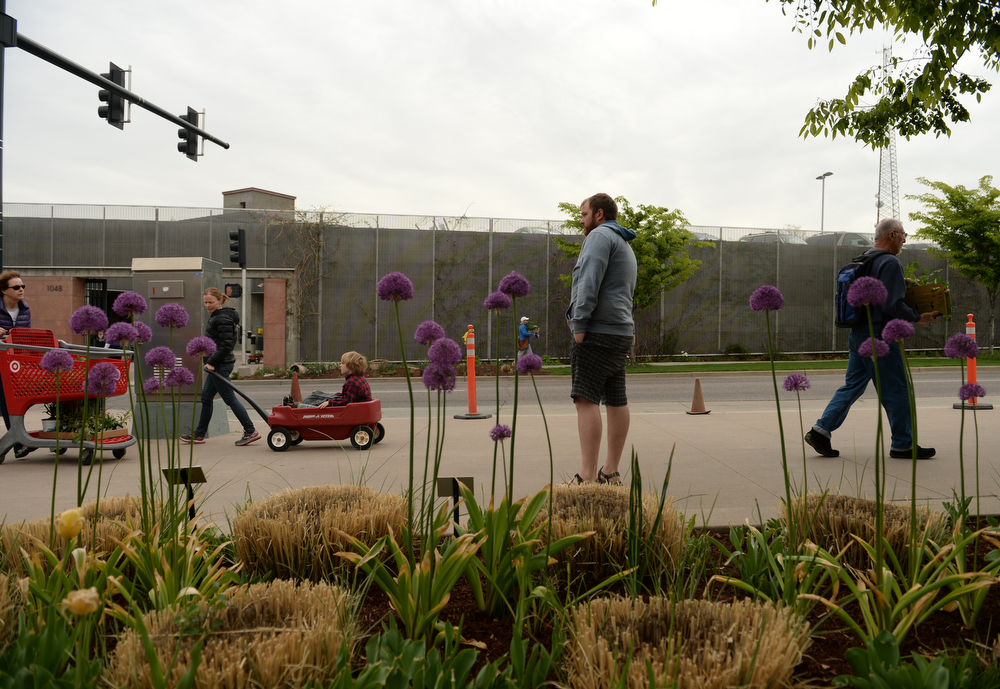. People come and go from the Denver Botanic Gardens during the popular annual spring plant sale, May 09, 2014. The sale will go through Saturday. (Photo by RJ Sangosti/The Denver Post)