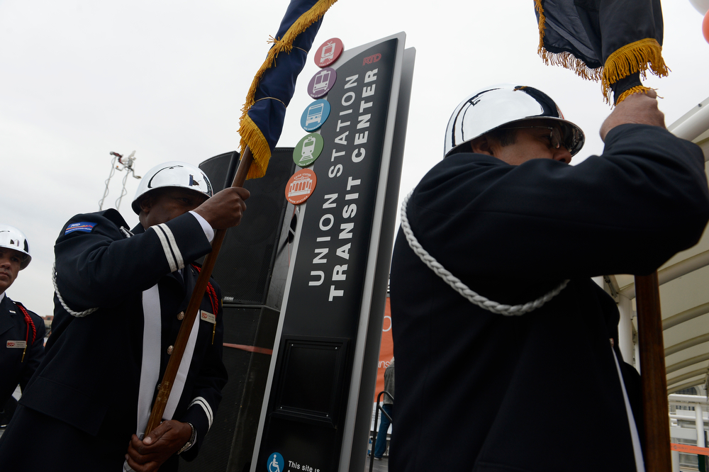. The RTD Color Guard practices the Presentation of Colors before the grand opening of the RTD Union Station Transit Center Friday morning, May 09, 2014. (Photo By Andy Cross / The Denver Post)