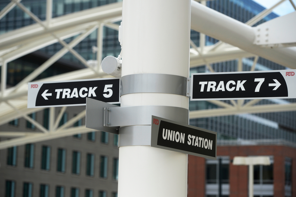 . Signs for track designation at the RTD Train Hall during the grand opening of the RTD Union Station Transit Center Friday morning, May 09, 2014. (Photo By Andy Cross / The Denver Post)