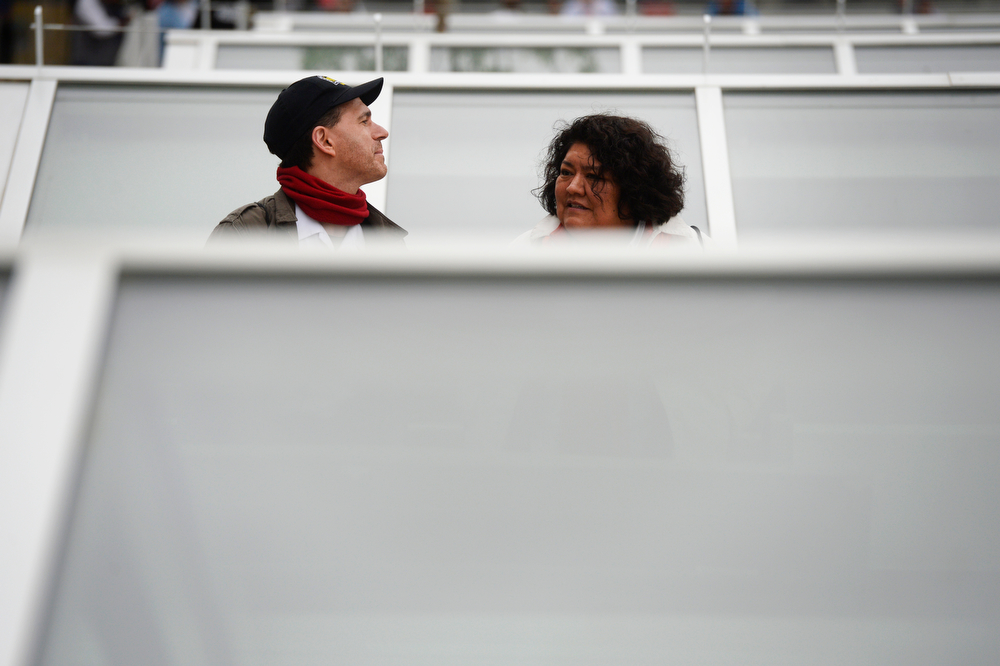 . Ethan Yazzie-Mintz, and his wife, Tarajean, take a break on a bench inbetween skylights that are above the new RTD underground bus concourse during the grand opening of the RTD Union Station Transit Center Friday morning, May 09, 2014. (Photo By Andy Cross / The Denver Post)