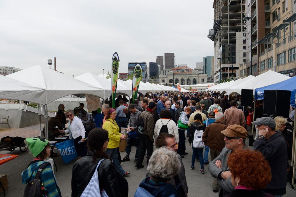 . A large crowd gathered for the grand opening of the new RTD Union Station Transit Center Friday morning, May 09, 2014. (Photo By Andy Cross / The Denver Post)