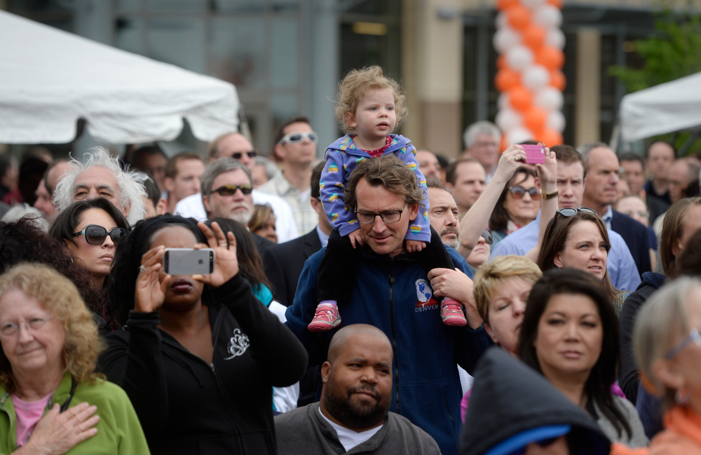 . Large crowds gathered for the grand opening of the RTD Union Station Transit Center Friday morning, May 09, 2014.  (Photo By Andy Cross / The Denver Post)