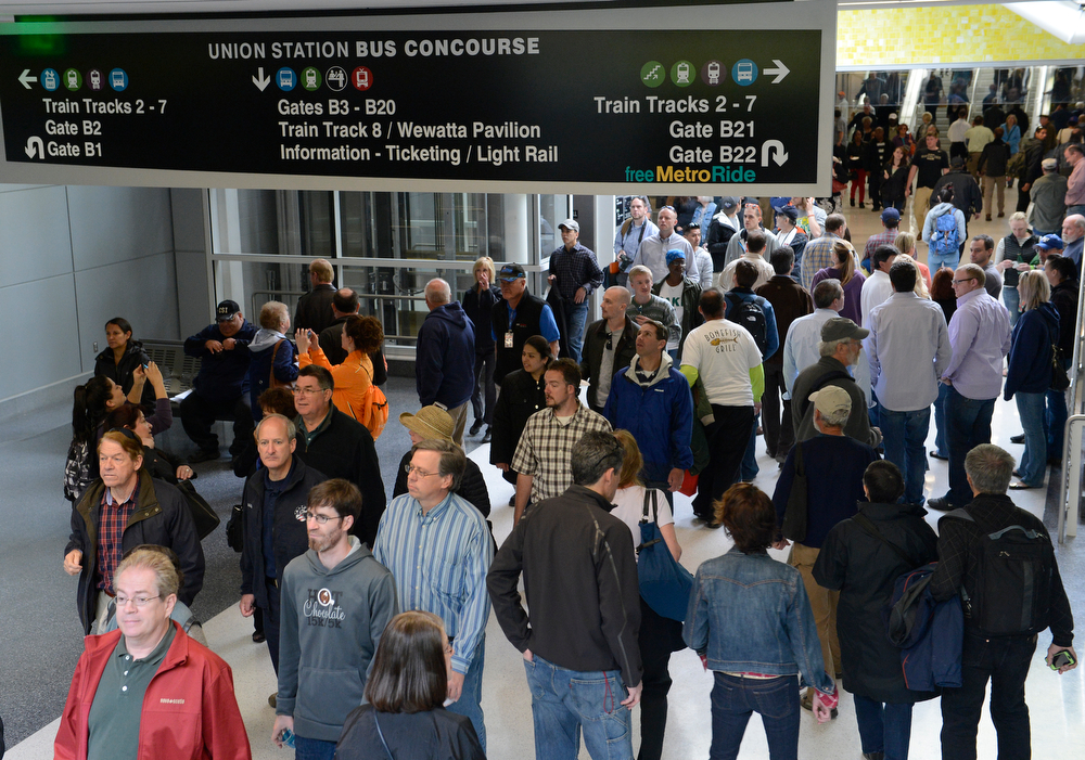 . The general public gets a first-look at the RTD underground bus station during the grand opening of the RTD Union Station Transit Center Friday morning, May 09, 2014. (Photo By Andy Cross / The Denver Post)