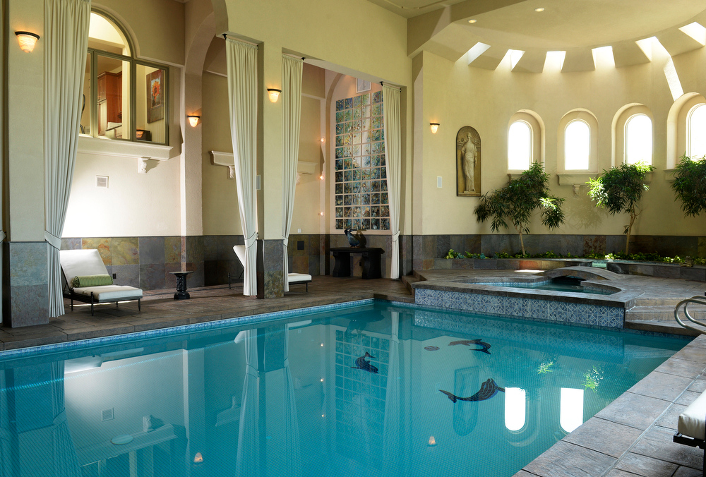 . Visit to the home that has just been placed on the market for $18 million. The 11 bedroom, 24 bathroom home is in Douglas County on Wednesday, July 2, 2014 in Parker, Colorado. Indoor pool. (Denver Post Photo by Cyrus McCrimmon)