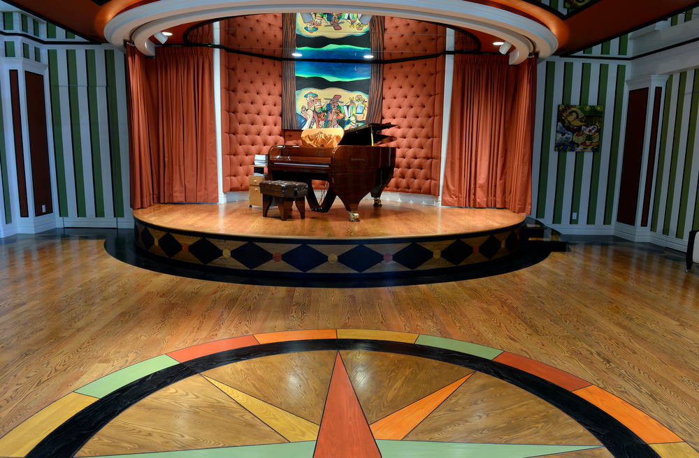. Visit to the home that has just been placed on the market for $18 million. The 11 bedroom, 24 bathroom home is in Douglas County on Wednesday, July 2, 2014 in Parker, Colorado. The stage room in the basement with a piano. (Denver Post Photo by Cyrus McCrimmon)